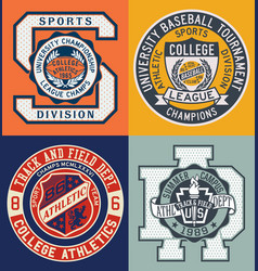 vintage sporting college athletic department vector image