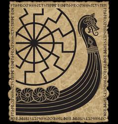 Warship of the vikings drakkar ancient vector