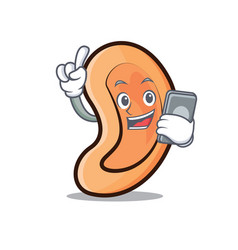 With phone ear character cartoon style vector