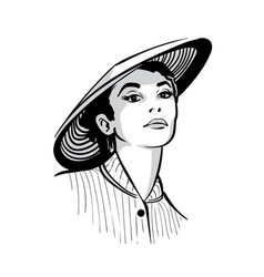 Woman face portrait with hat black and white vector