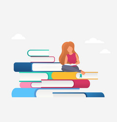 woman reading education concept bookreader vector image