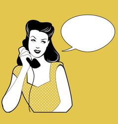 Woman talking on the phone speech balloon on the vector