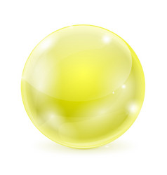 Yellow glass ball shiny 3d sphere vector