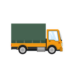 Yellow small covered truck isolated vector