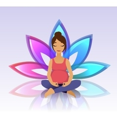 Yoga for pregnant women on lotus background vector