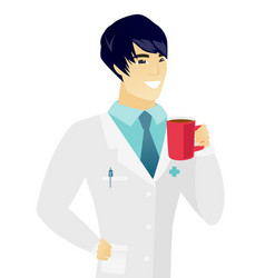 young asian doctor holding cup of coffee vector image