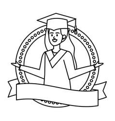 Young woman student graduated in ribbon emblem vector