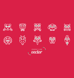 animals outline flat style vector image