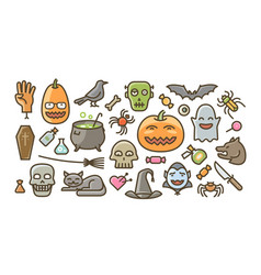 halloween set of icons holiday symbol cartoon vector image