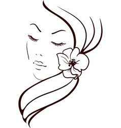 Woman Face with Beautiful Flower in Hair Sketch vector image vector image