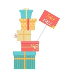 Big Pile of Wrapped Gift Boxes Sale Concept vector image vector image