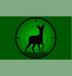 deer buck on full moon badge vector image