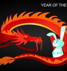 Dragon and rabbit vector image