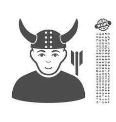Horned Warrior Icon With Bonus vector image vector image
