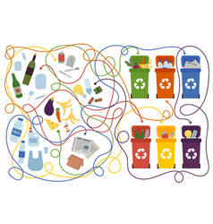recycling maze for kids with a solution vector image