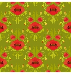 Seamless pattern with poppies on green background vector image