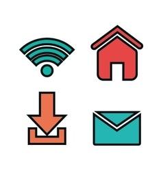 Social media concept flat icons vector