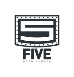 Black and white number five logo template made of vector image vector image