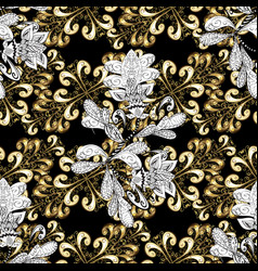 damask golden floral pattern on a black white vector image