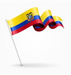 ecuadorian pin wavy flag vector image vector image