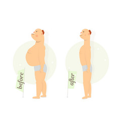 fat funny man before and after vector image