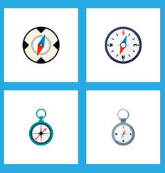 icon flat compass set of direction magnet vector image vector image
