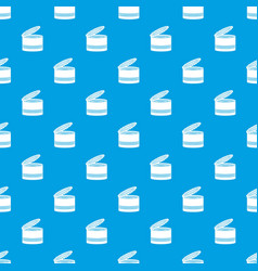 Open tin can pattern seamless blue vector