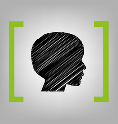 people head sign black scribble icon in vector image