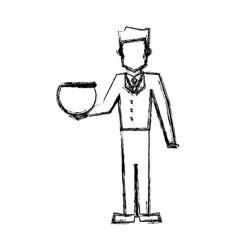 vet man with empty bowl fish sketch vector image