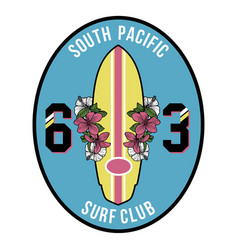 vintage surfboard badge vector image vector image