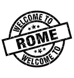 welcome to rome black stamp vector image vector image