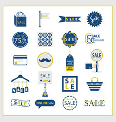 blue and golden sale and shopping icons set vector image