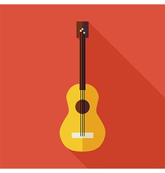 Flat Music String Guitar with long Shadow vector image