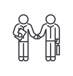 hand shaking businessmen agreement linear icon vector image