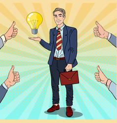 pop art businessman with creative idea light bulb vector image