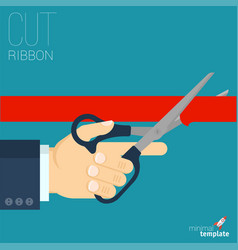 red ribbon cutting vector image