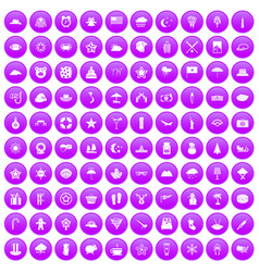 100 star icons set purple vector