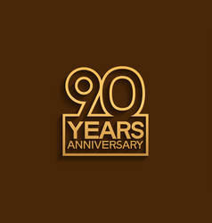 90 years anniversary design line style vector