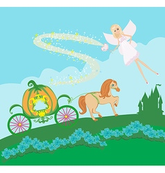 A fairy and a pumpkin carriage vector