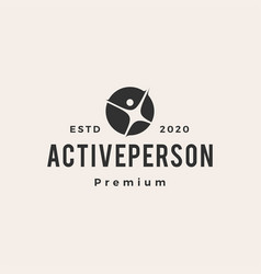 active person human hipster vintage logo icon vector image