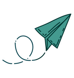 Aquamarine hand drawn silhouette of paper plane vector