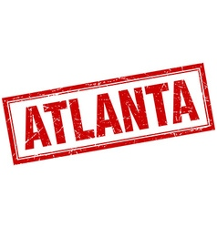 Atlanta red square grunge stamp on white vector
