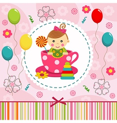 Baby girl in cup vector