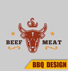 Bbq beef logo meat image vector