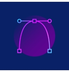 Bezier curve purple icon vector