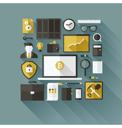 Bitcoin essentials Modern flat design elements vector image