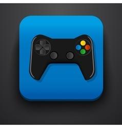 Black gamepad symbol icon on blue vector image