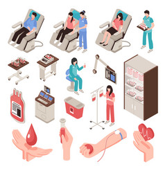 blood donor isometric set vector image