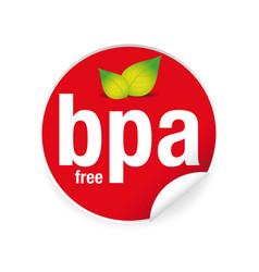 bpa free - bisphenol free label tag vector image