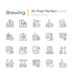 Brewing pixel perfect linear icons set vector